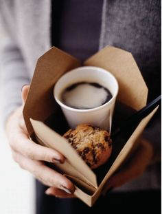 coffee and a chocolate chip muffin in THIS cute little box--what a great way to start the day :)