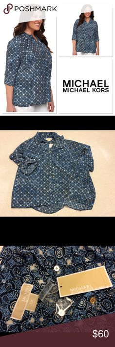 Michael Kors Blue Munabao Hi-Lo Button Down Top Brand new with tags! Size 3x. Gorgeous blue patterns. Extra button included. MICHAEL Michael Kors Tops Button Down Shirts