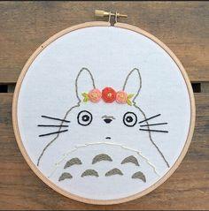Totoro embroidery hoop art by itsonlyyou on Etsy