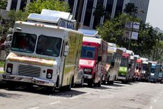 l.a food truck | line of gourmet food trucks on Wilshire Bl. in Los Angeles