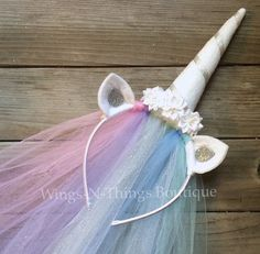 HORN HEADPIECE w/ Tulle Veil Ear Horn Headband, Princess Pony Celestia Dress Up, Kid Halloween Costume Party Favor Hat for Girl Tutoriales de disfracesTutoriales de disfraces My Little Pony Party, Fiesta Little Pony, Horn Headband, Unicorn Headband, Tulle Headband, Antler Headband, Unicorn Hair, Costumes Faciles, Unicorn Princess