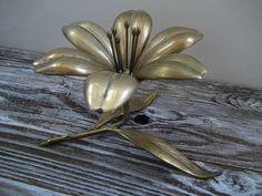 Vintage Unique Solid Brass Lotus Flower by DianesStuffForYou, $35.00