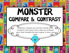 Great for comparing and contrasting! Students use pictures of two different monsters and a Venn Diagram. Second Grade make own monsters, take pictures with iPads. Compare and contrast using app. Reading Resources, Reading Strategies, Reading Skills, Teaching Reading, Reading Comprehension, Teaching Ideas, Teacher Resources, Classroom Freebies, Classroom Themes