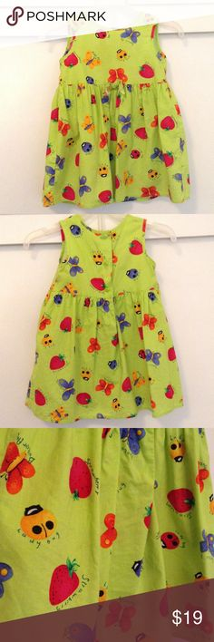 🆕Ladybugs & Butterflies! Green Spring Dress 3T 🌟PRE-OWNED; Vintage Item☘READ CLOSET POLICIES PRIOR TO PURCHASE☘  RARE TOO, By Rare Editions 💜🍓 Butterflies, Strawberries and Ladybugs Pleated Flair Dress. Size 3T 3-Button closure inches he rear. 100% Cotton. In excellent used condition. Rare Editions Dresses Casual