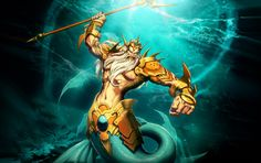 Poseidon (Neptune) - Greek God of the Sea. He is an Olympian God and brother of Zeus and Hades. Poseidon Trident, Poseidon Tattoo, Greek Gods And Goddesses, Greek Mythology, Zeus And Hades, Greek Drawing, Underwater Drawing, Pirate Ship Tattoos, Animal Symbolism