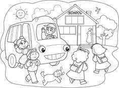 Illustration about Schoolboys going to school with the school bus. Coloring cartoon illustration for little kids. Illustration of smile, schoolgirls, cute - 27028080 School Coloring Pages, Free Coloring Pages, Coloring Books, School Cartoon, Cartoon Kids, Tout Rose, Kindergarten, Fete Halloween, Vector Art