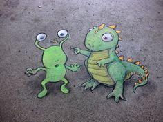 Sunday Artisan Market, Ann Arbor, Michigan (September 30, 2013) - street art by David Zinn