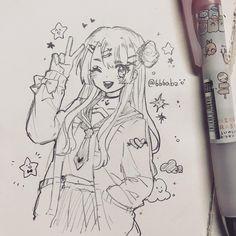 Anime Character Drawing, Manga Drawing, Manga Art, Character Art, Art Drawings Sketches Simple, Kawaii Drawings, Cute Drawings, Drawing Ideas, Art Anime