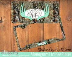 Mint Camo Antlers Monogram License Plate Frame Holder Deer Metal Wall Sign Tags Personalized Custom Hunting Vanity Tree Camo Country by BlingSity on Etsy
