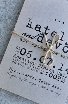DIY Printable Wedding Invitation - Typewriter kraft paper invites, customized with your wedding details and then emailed to you as a PDF doc to print at home or send to a printer. Perfect for a vintage wedding, rustic wedding or modern wedding.