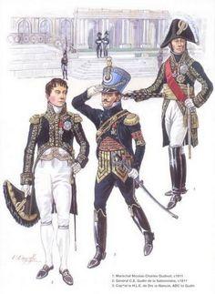 MARSHALS: 1-Maréchal Nicolas Charles Oudinot 1811. 2-Général César Charles Etienne Gudin de la Sablonnière 1811. 3-Capitaine H.L.E. Dreux-Nancré ADC de Gudin