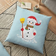'Snowman with green and red scarf holding yellow broom' Floor Pillow by duyvolap Floor Pillows, Throw Pillows, Red Scarves, Pillow Design, Christmas Stockings, Snowman, Cushions, Flooring, Yellow