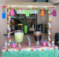 hula girl luau party: tiki hut