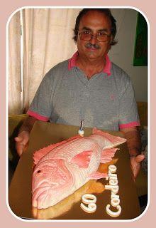 """BOLOS DO NOSSO IMAGINÁRIO: BOLO DECORADO DE ANIVERSÁRIO PEIXE 3D """" PARGO """" #3D #Fish #Cake #Bolo #Peixe"""