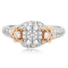 """Harper"" Diamond Engagement Ring Mounting in 18 Karat Rose and White Gold 