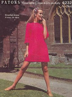 1960s VINTAGE CROCHET PATTERN: Lacey Mini Dress, Club/Party Dress, Retro, Boho, Hippie, Mod, Instant Download Pdf from GrannyTakesATrip 0249
