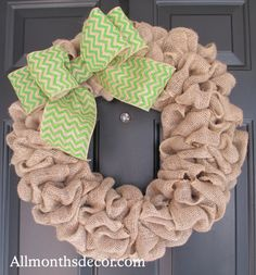 Natural Burlap Wreath with Lime Green Chevron Burlap Bow, Rustic, Spring, Easter, St. Patrick's Day, Year Round, Fall, Porch Door Decor