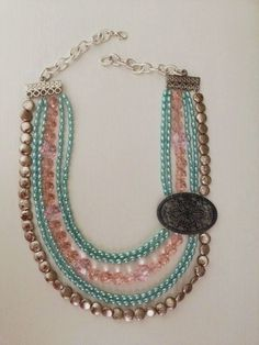 6 Strand Multi Bead Necklace with Antique Filigree Side Design