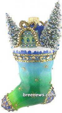 Merrie Christmas (Peacock) Patricia Breen Designs (Blue, Gold, Green, Santa, Sculpture Adornment, Stars, Tree Adornment)