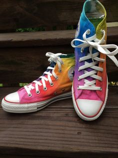 Rainbow Converse Tie Dye Converse HIGH TOP by IntellexualDesign