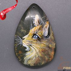 Creative Pendant Hand Painted Cat Natural Gemstone ZL805583 #ZL #Pendant