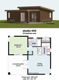 studio600 is a 600sqft contemporary small house plan with one bedroom, one bathroom, greatroom, covered patio, and a full kitchen.