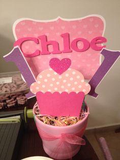 Cupcake themed first birthday centerpiece