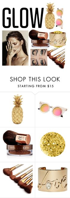 """""""Goldd"""" by dianatryoutstylz ❤ liked on Polyvore featuring beauty, Vita Liberata, Anna Sui, Lanvin and springglow"""