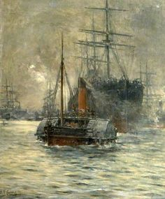 Evening Departure, London River Boat  by Bernard Finnigan Gribble Poole Museum Service  Date painted: 1894 ~ one of his earliest paintings, presumably