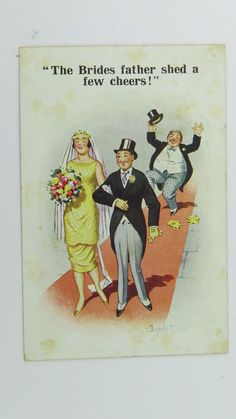 1920s Inter-Art Donald McGill Postcard No 5902 Wedding Bride s Father  Groom