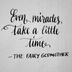 Even miracles take a little time. ~The Fairy Godmother