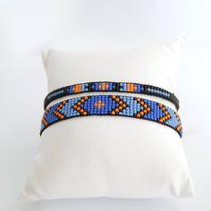 Items similar to Shaman - Set of black Miyuki delica woven ethnic spirit smart cuff bracelets on Etsy Loom Bracelet Patterns, Bead Loom Bracelets, Bead Loom Patterns, Bead Embroidery Jewelry, Beaded Jewelry Patterns, Native Beading Patterns, Beaded Earrings Native, Black Jewelry, Seed Bead Jewelry