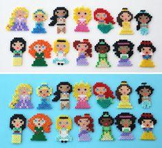 Mini Disney Princesses perler beads by ThePlayfulPerler on deviantart