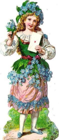 Oblaten Glanzbild scrap die cut chromo Blumen Kind Elfe elf  Fee flower child