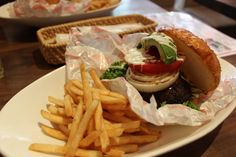 Hamburger (ハンバーガー) with French fries.  If you think we eat Sushi everyday, that's wrong:)