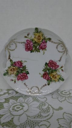 Prussian German fine porcelain red & yellow rose 9.25 inch serving plate #Unknown