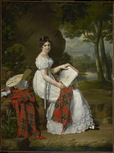 ab. 1830 Artist unknown - Woman Sketching in a Landscape. (Puff sleeve. High waist. Robin detail on dress and hat match. Tartan shawl.)