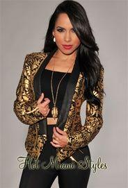 Black Gold Print Tuxedo Jacket