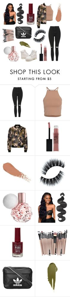 """""""Cute in Camo"""" by catherine-june ❤ liked on Polyvore featuring Topshop, NLY Trend, Timberland, Maybelline, New Look, adidas Originals and NARS Cosmetics"""