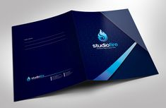 StudioFire Creative Presentation Folder With Pocket Design Template - Corporate Identity Template Business Folder, Business Cards, Powerpoint Template Free, Flyer Template, Brochure Design Layouts, Presentation Folder, Business Presentation, Dental Logo, Folder Design