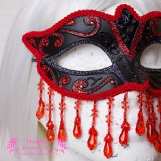Venetian Masquerade Mask 'Red Queen' Black  Red by Cherryfox, £35.00