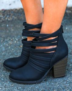 This Free People inspired bootie regularly retails at $198 and is a distressed stacked heel lifts a cage-inspired bootie with a strappy shaft for an on-trend cu