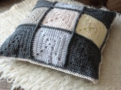 A solid granny square cushion cover/pillowcase #crochet