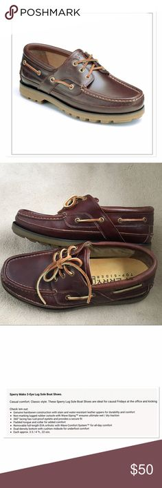 Sperry top-sider Mako 3-eye Lug Boat Shoes Sperry Top-sider Mako 3-eye Lug Boat Shoes. Casual comfort with a classic look. Non marking lugged rubber outsoles. Please see the the description in the photos it gives a much better description.  Excellent condition! Sperry Top-Sider Shoes