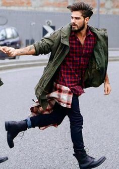 flannel jeans and green. Men's fashion and streetwear. Menswear.