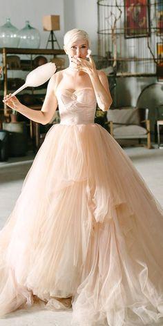 Color Trend: 18 Blush Wedding Dresses You Must See ❤ blush wedding dresses champagne sweetheart strapless neckline my wony ❤ #weddingdresses #weddingoutfit #bridaloutfit #weddinggown