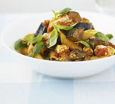 Aubergine and goat's cheese pasta. So much more fantastic than it sounds at first.