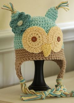 Crochet Owl Hat  Duck Egg Blue, Tan, Oatmeal, Yellow, Seafoam - Great colors!
