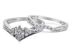 Diamond Marquise Engagement Ring & Wedding Band Set 1/2 Carat (ctw) in 14K White Gold. Sale price $795