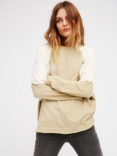 Yokin' Around Tunic | Soft and stretchy tunic with cozy knit contrast details on the shoulders. Unfinished edges create a lived-in look. Subtle side vents. Relaxed fit.